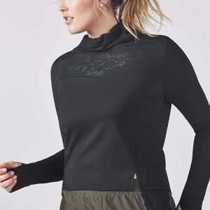 NWT Fabletics Black Lace Small Athletic Pull over